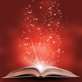 stock photo of ethereal  - magic book on a  background with the lines and lights - JPG