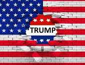 Постер, плакат: Grunge American Usa Flag Broken Crack Wall With Hole And Word Trump