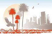 Cityscape with palms, sun & birds