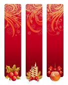 Three red christmas banners
