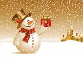 picture of headdress  - Snowman with gift for you - JPG