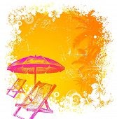 Hand drawn beach chair and umbrella on a tropical grunge background