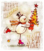 picture of snow-slide  - Skating happy snowman with christmas tree - JPG