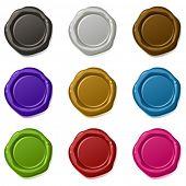 9 muitos coloridos vector ceras de selagem