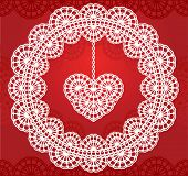 vector lace heart hanging on red background