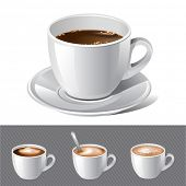 vector realistic coffee - espresso , cream , latte , cappuccino. There are VARIETY of tea things in