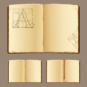 vector old books with bookmark