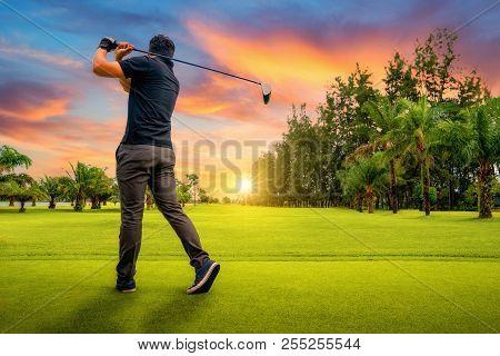 Golfer Putting Golf Ball On