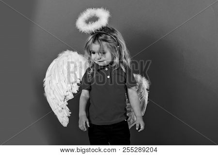 poster of Kid Or Adorable Little Angel Boy With White Feather Wings And Halo, Child With Cute Face And Blonde