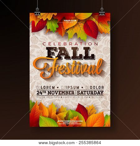 poster of Autumn Party Flyer Illustration With Falling Leaves And Typography Design On Doodle Pattern Backgrou