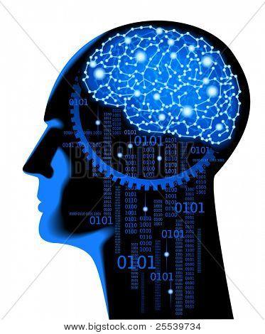 Постер, плакат: Концепция человеческого мышления Абстрактные науки фон с мозга, холст на подрамнике