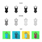 Different Kinds Of Swimsuits. Swimsuits Set Collection Icons In Cartoon Style Vector Symbol Stock Il poster