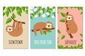 Lazy Sloth. Cute Slumbering Sloths On Branch. Child T Shirt Design Or Greeting Cards Vector Set. Ill poster