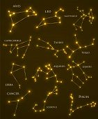 Set Of Zodiac Constellations. Horoscope Set: Aries, Leo, Sagitarius, Capricorn, Taurus, Virgo, Libra poster