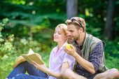 Romantic Date At Green Meadow. Couple In Love Spend Leisure Reading Book. Couple Soulmates At Romant poster