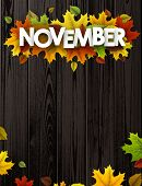 November Background With Colorful Maple And Birch Leaves. poster