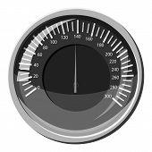 Automobile Speedometer Icon. Gray Monochrome Illustration Of Automobile Speedometer Icon For Web poster