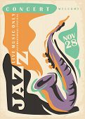 Jazz Poster Design Idea With Artistic Drawing Of Saxophone. Colorful Music Ad For Jazz Concert Festi poster