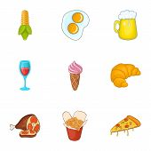 Calorie Food Icons Set. Cartoon Illustration Of 9 Calorie Food Icons For Web poster