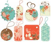Price tags collection: flowers and hearts decorations