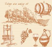 foto of wine-press  - Vintage wine and wine making set - JPG
