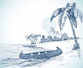 Beach sketch with boat on shore, palm trees and volcano in background. Vector illustration