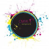Grunge Kreis mit CMYK-Tinten-Spritzer