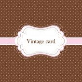 Brown and pink vintage card, polka dot design