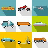 Movement Icons Set. Flat Illustration Of 9 Movement Icons For Web poster