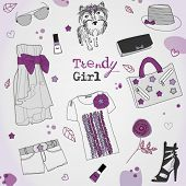 Trendy violet girl set, stylized doodles