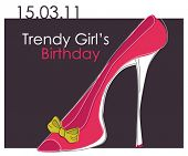 Cartão com Rosa na moda sapato, cartão de aniversário
