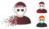 Blind Man Icon With Face In Fractured, Pixelated Halftone And Undamaged Solid Variants. Points Are A poster