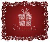 Caja de regalo detallada en un trineo