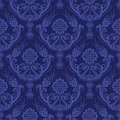 Luxury blue floral damask wallpaper