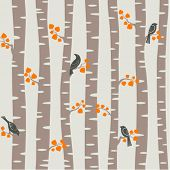 Seamless vector pattern with autumn trees and birds