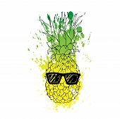 Vector Line Illustration Of Pineapple With Watercolor Abstract Texture In Glasses. Isolated Ananas F poster