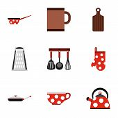 Dining Items Icons Set. Flat Illustration Of 9 Dining Items Icons For Web poster