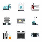 Home Appliances Icons Set. Flat Illustration Of 9 Home Appliances Icons For Web poster