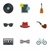 Hippie Icons Set. Flat Illustration Of 9 Hippie Icons For Web poster