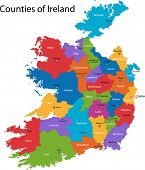 Colorful Republic of Ireland map with regions and main cities