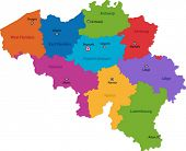 Colorful Belgium map with provinces and main cities
