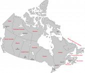 Gray Canada map with provinces and capital cities