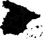 Black Spain map with region borders