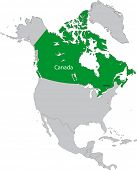 Location of Canada on the north America continent