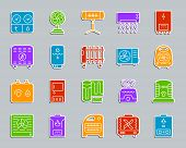 Hvac Silhouette Sticker Icons Set. Sign Kit Of Climatic Equipment. Fan Pictogram Collection Includes poster