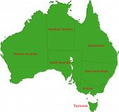 Kaart van bestuurlijke indeling van Australië
