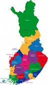 Color map of administrative divisions of Finland