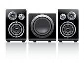 Vector illustration of power speakers and woofer