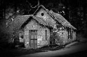 picture of house woods  - Derelict haunted stone house and dirt road in the woods - JPG