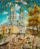 Oil Painting Old Church